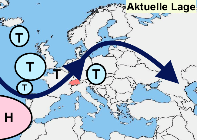 Noch liegen wir im Einflussbereich von Tiefdruck über Westeuropa.Das für uns wichtige Hoch liegt weit weg über den Azoren und kann nicht den geringsten Einfluss auf uns nehmen